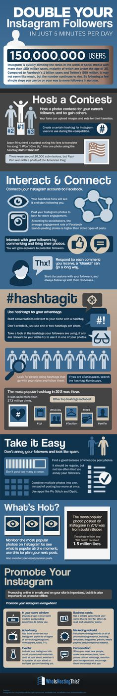 Double Your Instagram Followers in Just Five Minutes a Day   #Infographic #Instagram #SocialMedia