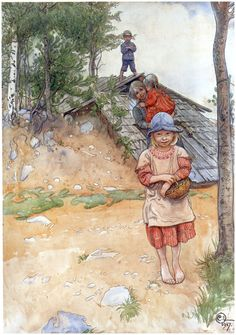 By the Cellar -  Artist: Carl Larsson Completion Date: 1917 Place of Creation: Sweden Style: Art Nouveau (Modern) Genre: genre painting Technique: watercolor Material: paper Dimensions: 52.5 x 74 cm Gallery: Nationalmuseum, Stockholm, Sweden
