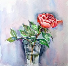My rose- Watercolor Laura Climent. Roses Only, Watercolor Rose, Plants, Blog, Painting, Art, Pink, World, Pink Watercolor