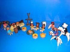 Lote Playmobil-escenario INDIOS Y VAQUEROS-9 figuras + accesorios- años 70