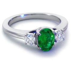 Blue Nile Emerald and Diamond Ring in 18k White Gold (7x5mm) ($2,500) ❤ liked on Polyvore