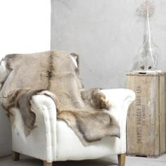 Natural deer hide throw and vintage armchair My Living Room, Home And Living, Living Spaces, Deer Hide, White Houses, Rustic Interiors, Warm And Cozy, Interior Inspiration, Interior And Exterior