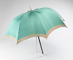 ca. 1825, American. Umbrellas and parasols had become established fashion accessories in the 18th century. Inherent stress on the materials along with age-related deterioration has meant that few early examples survive.