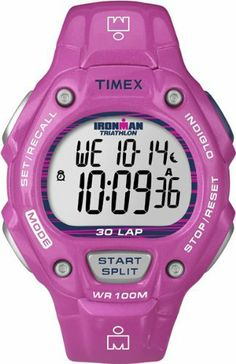Timex Unisex T5K619 Ironman Traditional 30-Lap Shine Pink Resin Strap Watch Timex. $64.95. Watch. 24 hour countdown timer with stop and repeat. 15 date reminders. INDIGLO night light with night mode. 30-Lap Memory Recall and 99-lap counter