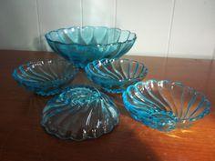 Vintage aquamarine blue blass serving bowl set by GraceYourNest