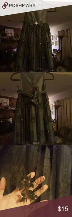 Girls formal dress Worn one time. Black with pleated tulle overlay with small silver polka dots and velvety floral design. Wonderful for the holidays! ***All items come from a dog and smoke friendly home*** Cherokee Dresses Formal