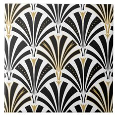 Digital reproduction of a classic, Art Deco wallpaper, fan pattern - black on white, embellished with gold - Use as a trivet!!!