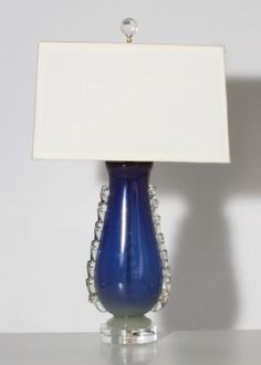 Parisian blue Murano glass lamps from Jan Showers (pair available)