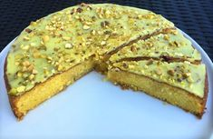 Saras madunivers: Lemon Moon with marcipan and lemon & vanilla syrup. Vanilla Syrup, Marzipan, Cakes And More, No Bake Desserts, Pistachio, Quiche, Lemon, Sweets, Restaurant