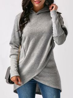 Autumn Winter Irregular Hooded Hoodies Women Loose Long Sleeve Sweatshirt Female Fashion Solid Pocket Hoody Pullover Red S Plain Hoodies, Hoodie Sweatshirts, Sweatshirt Refashion, Mode Hijab, Grey Hoodie, Casual Tops, Kimono, Clothes For Women, Outfits
