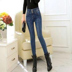 Ny Ankomst Skinny Jeans Kvinna Byxor Bomull Kvinnor Byxor 2017 Hög midja  Jeans Kvinnor Byxor Plus 8b4c5547f2e1c