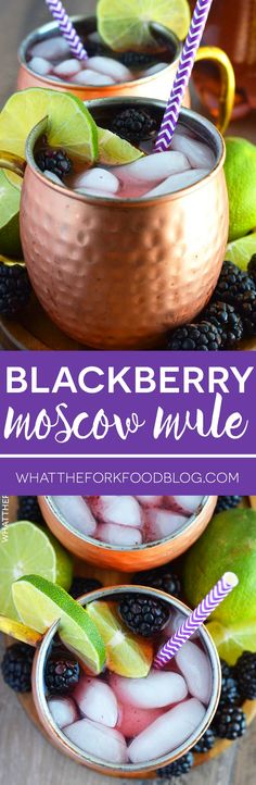 Easy Blackberry Moscow Mule made with fresh blackberries for a refreshing summer drink. Recipe from @whattheforkblog | whattheforkfoodblog.com | how to make a Moscow Mule | cocktails | easy drink recipes | cocktails with fruit | copper mugs | cocktails with vodka | ginger beer | easy cocktail recipes