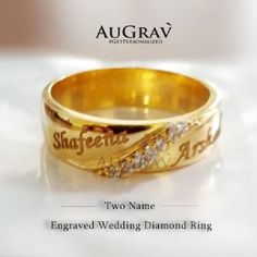 Indian engagement ring designs with name Wedding Ring With Name, Indian Wedding Rings, Indian Engagement Ring, Engagement Ring For Him, Beautiful Wedding Rings, Gold Wedding Rings, Designer Engagement Rings, Gold Engagement Rings, Gold Rings