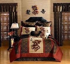Pcs Black Gold Red Palace Dragon Jacquard Comforter Set Bedina - Chinese dragon comforter set