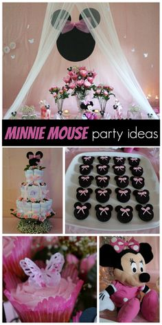 A pretty pink Minnie Mouse baby shower featuring butterflies and roses!  See more party ideas at CatchMyParty.com!