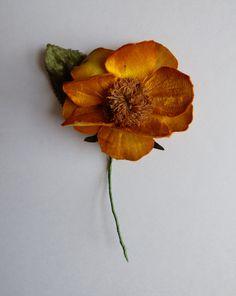 Antique millinery satin flower. WILD ROSE. Hat trim. - vintage millinery - vintage rose - yellow rose - wild rose - dog-rose - canine rose - de GiardinoDiNinfa en Etsy