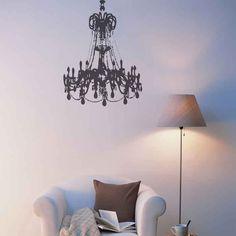 Grunge Chandelier wall decal, a vinyl wall chandelier wall art sticker.