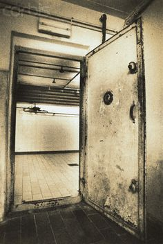 Gas Chamber Door at Nazi WWII Concentration Camp by Kevin Cruff - AALL001002 - Rights Managed - Stock Photo - Corbis. Mauthausen, Austria. 1997