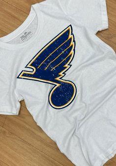 St Louis Blues Womens White Triblend Crew Neck Short Sleeve T-Shirt - 18241753 St Louis Blues, Blue Shorts, Great Books, Short Sleeve Tee, Team Logo, Crew Neck, Blue And White, Tees, T Shirt