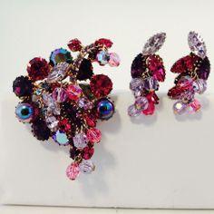 Fabulous Juliana D&E Pink, Amethyst, White,Blue Rhinestone Demi Parure 8356