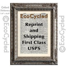 New to EcoCycled on Etsy: Extra Shipping USPS First Class and Reprint of a Design on a Book Page (0.25 USD)