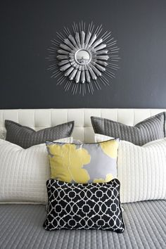 Gray and yellow bedroom color combination. - My-House-My-Home Interior, Home Bedroom, Home Decor, Contemporary Bedroom, Bed Pillows, Eclectic Bedroom, Bedroom Color Combination, Yellow Bedroom, Bed Pillow Arrangement