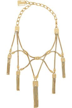 Lanvin Tasseled gold-tone crystal necklace | NET-A-PORTER