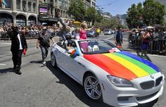 California Lieutenant Governer Gavin Newsom drives with his family along the parade route during San Francisco's Gay Pride festival on June, 30, 2013.    AFP PHOTO/JOSH EDELSONJosh Edelson/AFP/Getty Images Photo: Josh Edelson, AFP/Getty Images