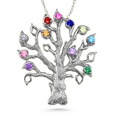 Family Tree 3-14 Stones Pendant #jewlr. Choose any number of stones - makes an incredible gift for a Grandmother! #mothersday