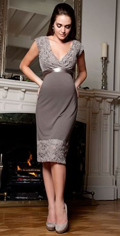 Taupe lace and satin maternity dress.