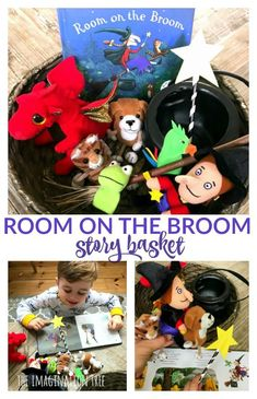 Room on the Broom Story Basket - The Imagination Tree, Nursery Activities, Preschool Activities, Gruffalo Activities, Fall Preschool, Preschool Books, Halloween Crafts For Kids, Halloween Themes, Book Baskets, Witches