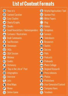 List of #Content formats: #Marketing #Web #Business #Entrepreneur #Startup #Ecommerce