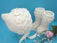 Items similar to Knitting PATTERN Baby Set Baby Bonnet Baby Hat Cap Knitted Baby Shoes Baby Booties Baby Uggs Knit Pattern Babies Baby Girl Newborn Infant on Etsy Baby Hats Knitting, Crochet Baby Hats, Baby Knitting Patterns, Knitted Baby, Booties Crochet, Crochet Baby Dress Pattern, Baby Dress Patterns, Knit Baby Shoes, Baby Booties