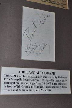 The last autograph signed by Elvis Presley for a Memphis Police Officer
