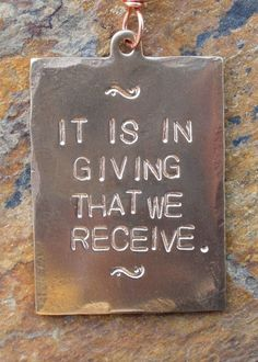 It Is In Giving That We Receive Handstamped by jeanskipper