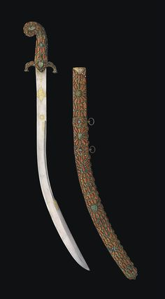 A CORAL AND TURQUOISE INLAID SWORD (KILIJ) -  PROBABLY TRABZON, OTTOMAN TURKEY, 18TH CENTURY