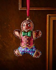 H84LV Jay Strongwater Gingerbread Man Christmas Ornament