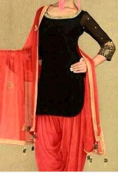 I need a simple black velvet salwar kameez with sheer arms like this. Punjabi Salwar Suits, Punjabi Dress, Patiala Salwar, Anarkali, Lehenga, Saree, Punjabi Fashion, Bollywood Fashion, Indian Fashion