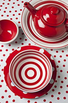 I love this Ceramic Red Teapot and Cup and Saucer Set. I love the red and white polka dot table cover.