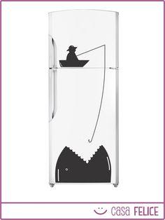 Ponele onda a tu heladera con los vinilos decorativos de Casa Felice! Precio y detalles del producto en http://tienda.casafelice.com.ar/cocina/heladera-pescador/