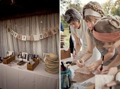 Guest book idea table with hats for all of the guests to wear!