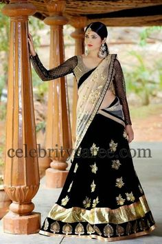 Black Georgette Half Saree | Saree Blouse Patterns