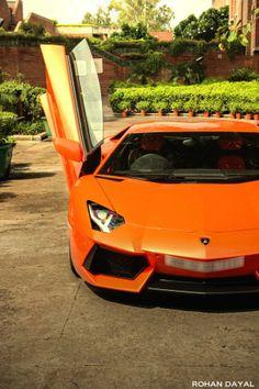 Orange Lamborghini Aventador...this made me think of 22 jump street