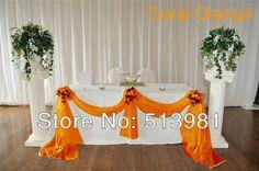 Coral orange Sheer  Swag DIY  5M*1.35M Sheer Organza Swag DIY Fabric Wedding Party Banquet Top Table Decor Stair Valance Bow New $19.98