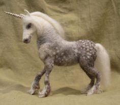 Reserved for Katie -Needle felted unicorn, dapple gray pony, original one of a kind soft sculpture, READY TO SHIP Needle Felted Animals, Felt Animals, Cute Animals, Book Crafts, Felt Crafts, Wet Felting, Needle Felting, The Last Unicorn, Felt Art