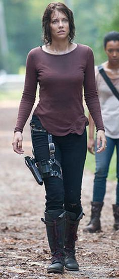 My Halloween costume idea. I'm thinking I'll be Zombie Maggie for a twist. Lol! Hope I can pull it off. Have everything but a brown wig.  -Maggie Greene Season 4 Walking Dead