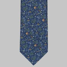 Beautiful, archival print from Drake's of London. Tie Colors, British Style, Silk Ties, Creative Director, Drake, Floral Tie, Birds, London, Bird