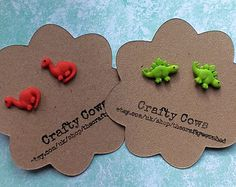 Diddy dinosaur earrings - tiny dino earrings in red or green stud earrings uk