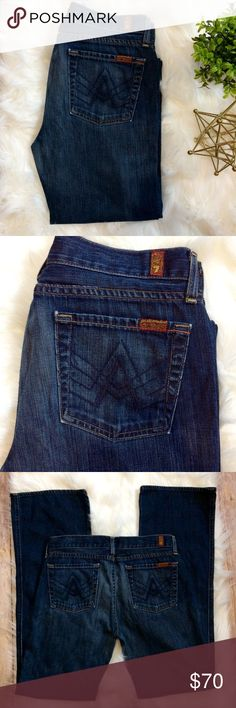 "7FAM A Pocket 34"" Inseam Bootcut Dark Wash Jeans with a long inseam, and a Bootcut style. Legs are 8"" at knee and 9"" at opening. Features Distressed details around pockets.  Condition: Excellent Used Condition Wash: Dark Wash Fit: Bootcut, 9""  Waist: 31"" Inseam: 34"" Front Rise: 9"" Back Rise: 12"" Fabric Content: 100% cotton Stretch: No Measurements are approximate. 7 For All Mankind Jeans Boot Cut"