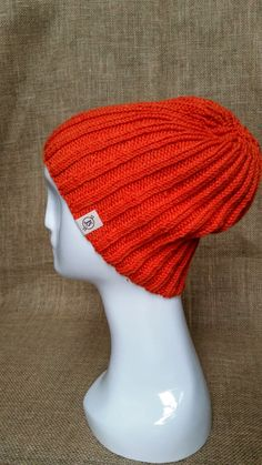 Handmade Hand Knit Bright Orange Wool Beanie Hat Gifts by JSWarmth
